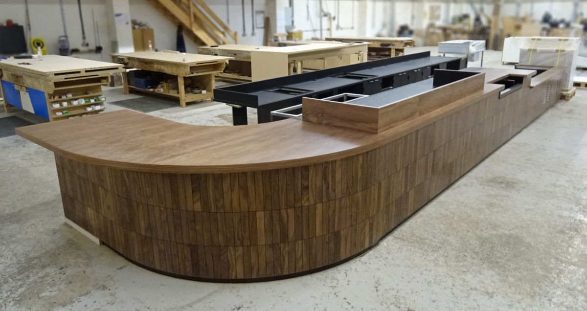 Coffe shop counter in joinery workshop