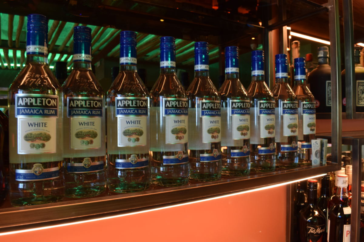 back of bar bottle display