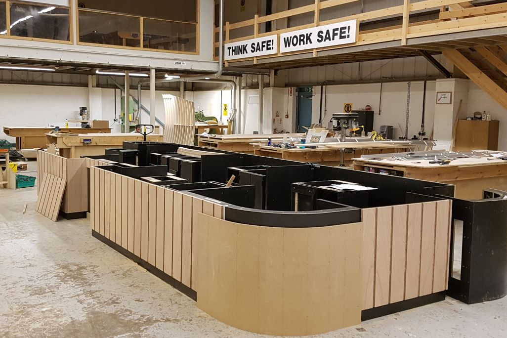 Coffee shop counter in production in our bespoke joinery workshop