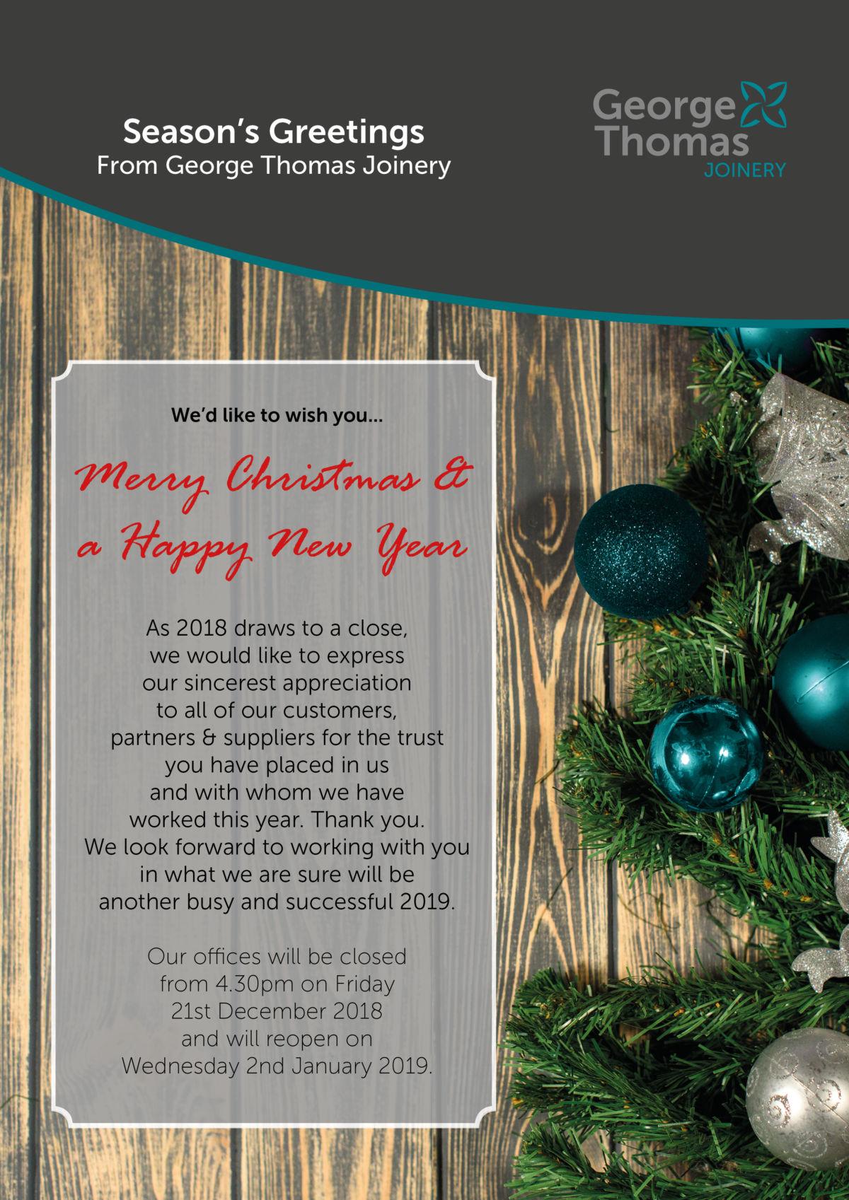 George Thomas Christmas 2018 message