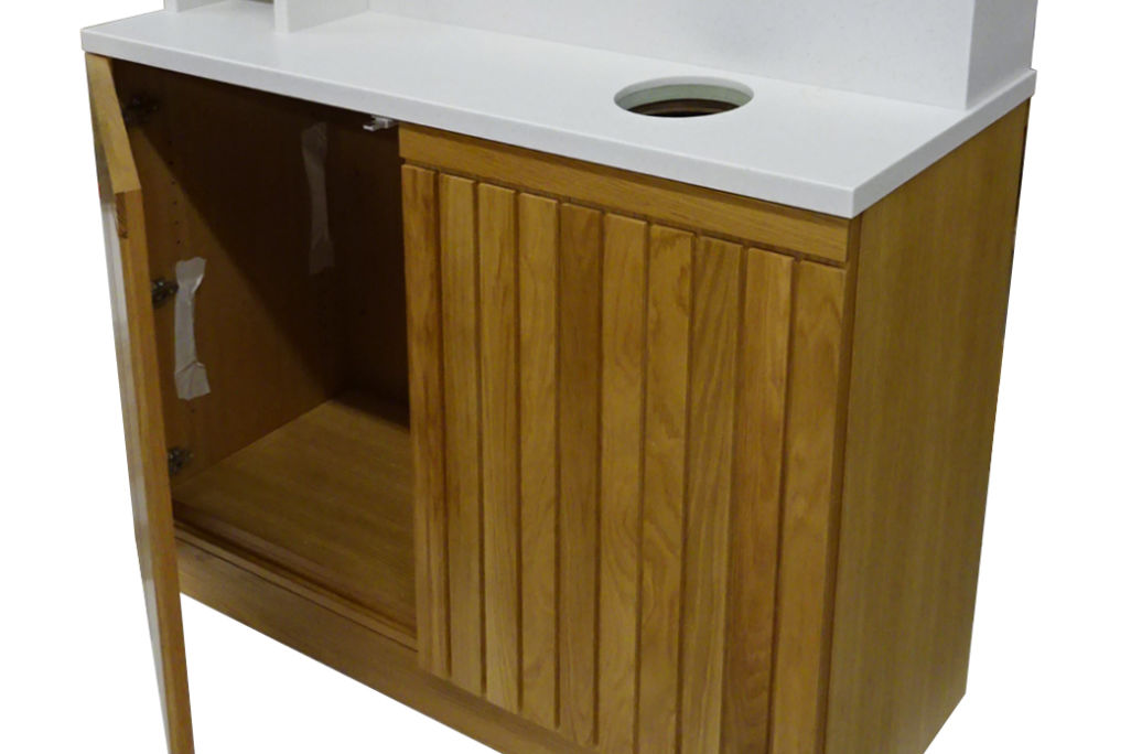 wood slatted front coffee shop Condiment pod